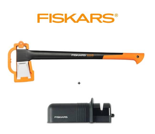 FISKARS Sekera Fiskars štípací X25 - XL 122483 + ostřič Solid - SET Fiskars 122483 a 120005