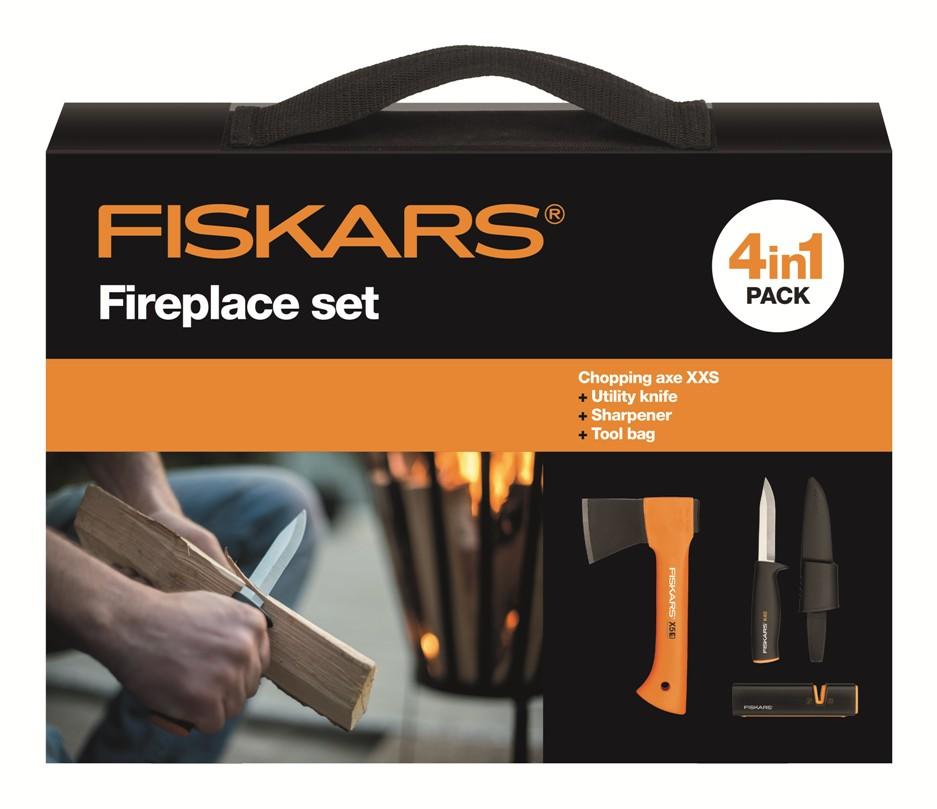 FISKARS Kempingová sada Fiskars 1025441,sekera + nůž + ostřič