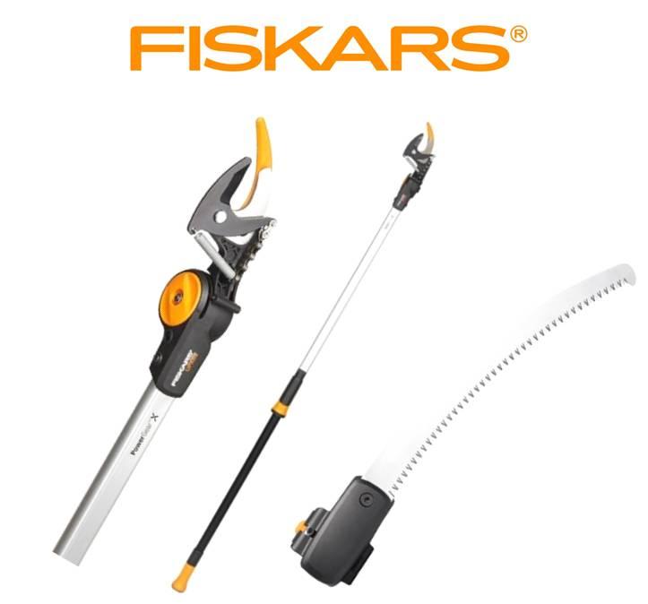 FISKARS Nůžky PowerGear™ X zahradní univerzální UPX82 Fiskars 1023625 + prořezávací pilka Fiskars 1023633