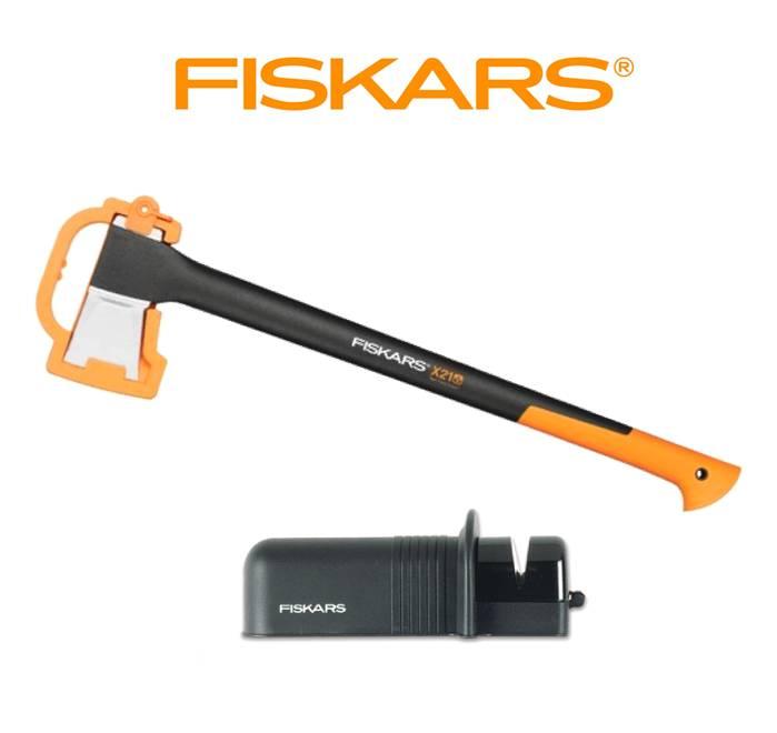 FISKARS Sekera Fiskars štípací X21 + ostřič Solid - SET Fiskars 122473 a 120005