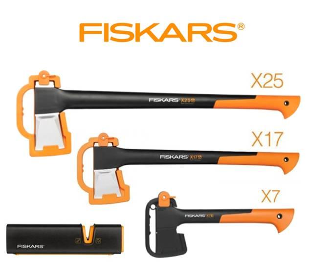 FISKARS štípací sekera XL X25 122483 + sekera X17 + sekera X7 + ostřič - SET Fiskars 122483 a 122463 a 121423 a 120740