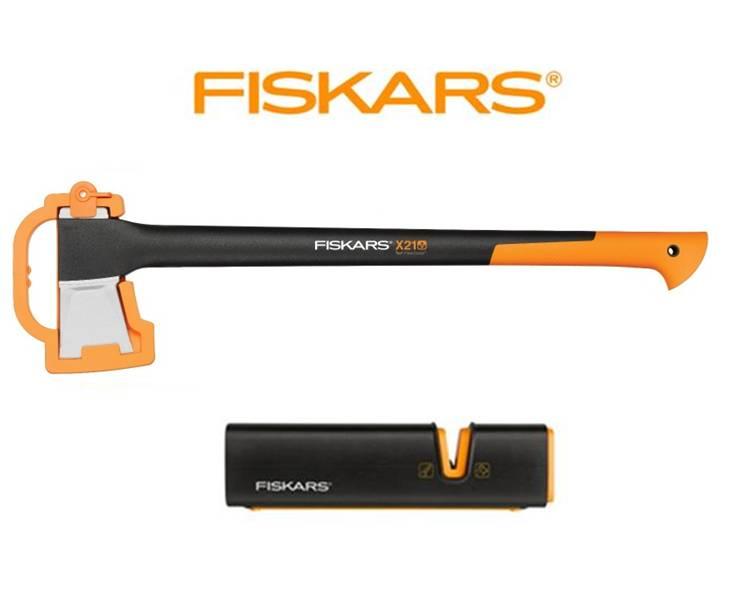 FISKARS Sekera Fiskars štípací X21 + ostřič XSharp - SET Fiskars 122473 a 120740