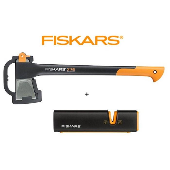 Fiskars sekera x17 + ostřič Xsharp – SET Fiskars 122460 a 120740