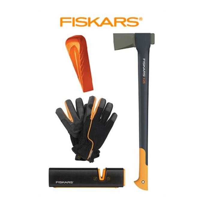 FISKARS Sekera Fiskars X25 štípací, plastové pouzdro 122480 + klín + ostřič XSharp + rukavice - SET Fiskars 122480 a 120020 a 120740 a 160004