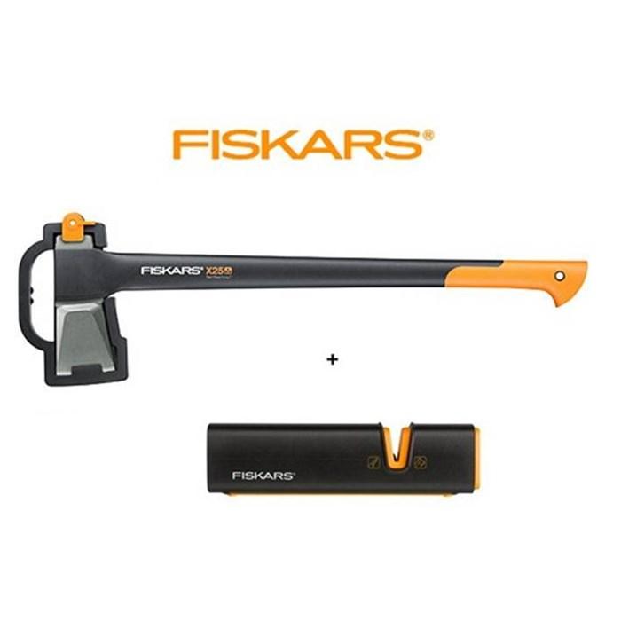 FISKARS Sekera Fiskars X25 štípací, plastové pouzdro 122480 + brousek XSharp - SET Fiskars 122480 a 120740