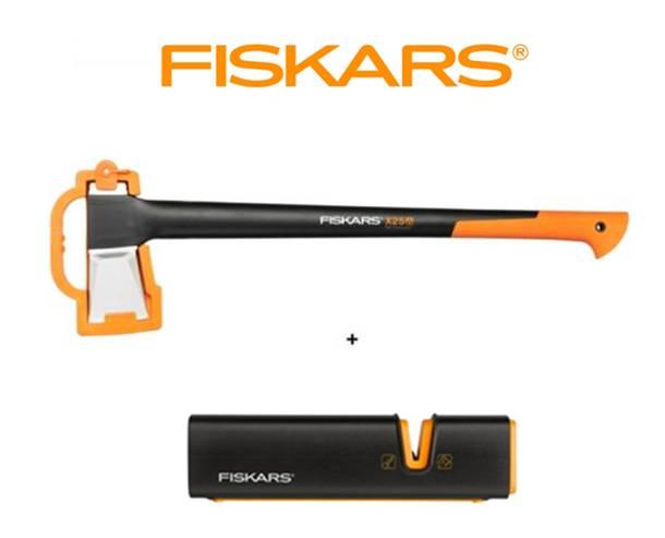 FISKARS Sekera Fiskars štípací X25 - XL 122483 + ostřič Xsharp - SET Fiskars 122483 a 120740