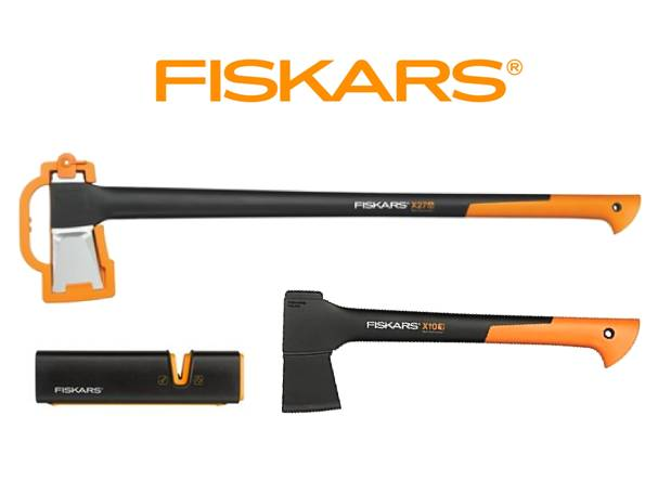 FISKARS Sekera FISKARS štípací X27 - XXL 122503 + sekera X10 + ostřič XSharp - Set Fiskars 122503 a 121443 a 120740